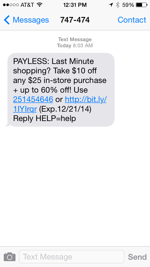 Payless Shoes SMS Coupon Example