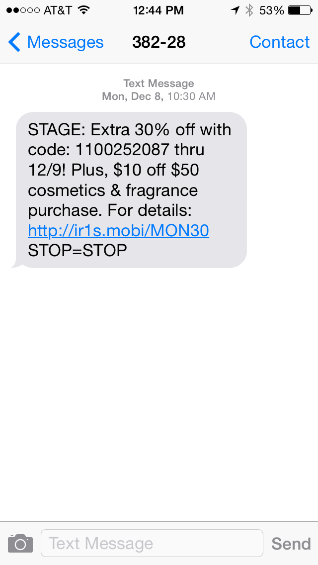 Stage SMS Coupon Example