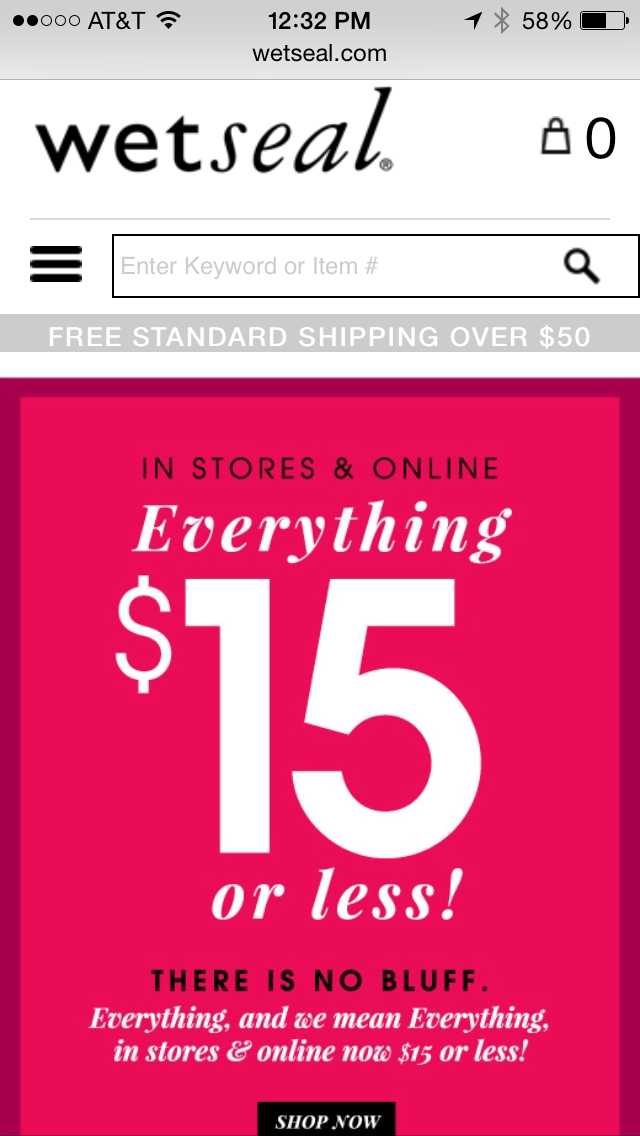 Wet Seal Mobile Coupon Example