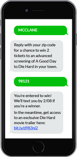 SMS Contest Example - Die Hard