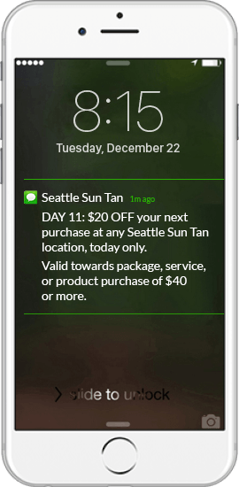 SMS Promotion Example - Seattle Sun Tan
