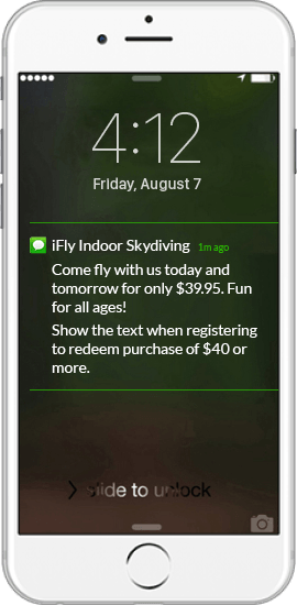 Text Message Offer Example - iFly Indoor Skydiving