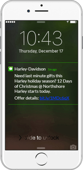Text Message Marketing Example - Harley Davidson