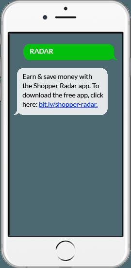 SMS App Download Example - Shopper Radar App