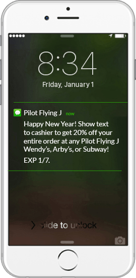 Text Message Coupon Example - Pilot Flying J