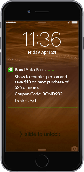SMS Coupon Example - Bond Auto