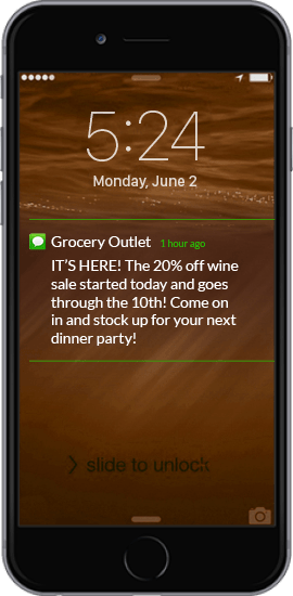 Text Message Coupon Example - Grocery Outlet